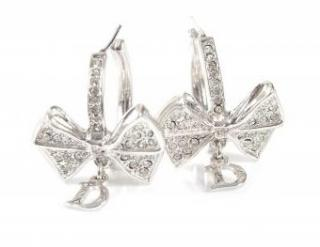 Dior Silver Tone Crystal Bow Earrings