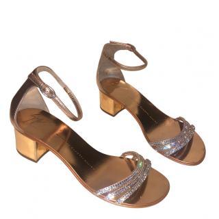 Giuseppe Zanotti Crystal Embellished Block Heel Sandals