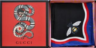 Gucci Large silk Bee and Tiger  scarf
