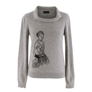 Ballantyne Grey Model Intarsia Cashmere Knit Jumper