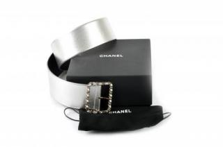 Chanel thick Matte Silver Leather Belt w/Chain Buckle