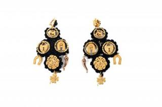 Dolce & Gabbana Chandelier Charm earrings in Tricot and gold metal