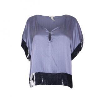 Eres Blue Silk Velvet Trimmed Cover-Up