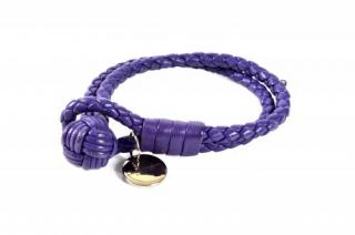 Bottega Veneta Purple Intrecciato Leather Double Strand Bracelet