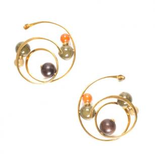 Louis Vuitton Beaded Gold Tone Spiral Earrings