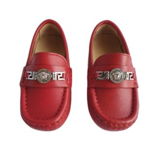 Young Versace Red Leather Loafers