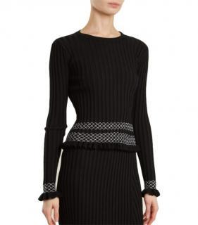 Altuzarra black ribbed long sleeved knit top