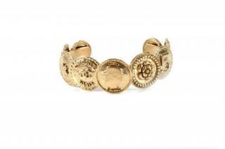 Chanel vintage gold metal icon medallion/coin bangle
