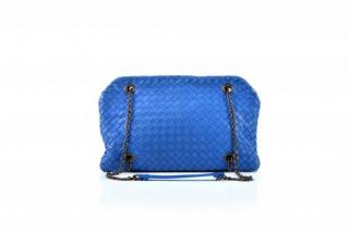 Bottega Veneta Inrecciato Triple Compartment Blue leather Bag