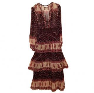 Zimmermann Silk Paisley Lace-Up Tiered Midi Dress