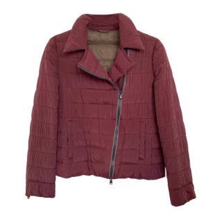Brunello Cucinelli Burgundy Silk Padded Monile Trim Jacket
