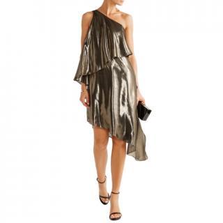 Halston Heritage Gold Silk Lame Asymmetric Dress
