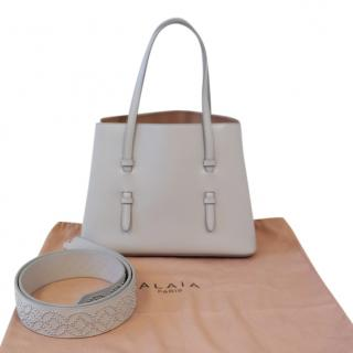 Alaia Grey Leather Tote Bag with Studded Shoulder Strap