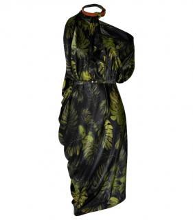 Lanvin Green Leaf Print Silk Asymmetric Dress