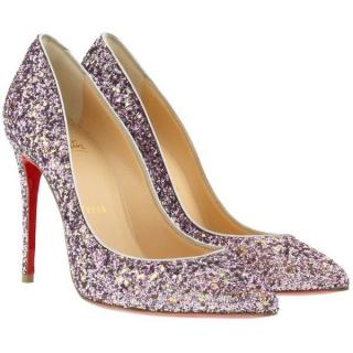 Christian Louboutin Pigalle Follies 100 Glitter/Ruban Met Pumps