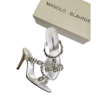 Manolo Blahnik White Crystal Embellished Sandals