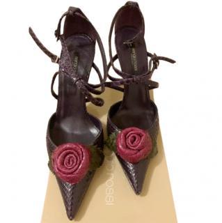 Sergio Rossi Purple Flower Applique Snakeskin Sandals