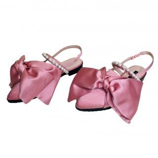 Mother Of Pearl Pink Satin Embellished Chelsea Slingback Flats