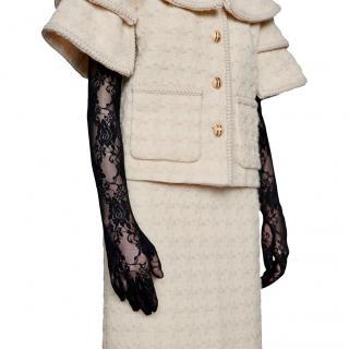 Gucci Black Lace Long Floral Gloves
