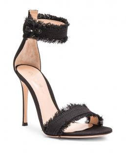 Gianvito Rossi Black Frayed Lola Sandals