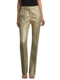 Etro jacquard stretch satin twill tailored trousers