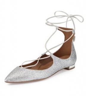 Aquazzura suede silver glitter Christy flats