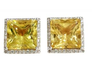 William & Son 18ct Gold Helidor & Diamond Square Earrings