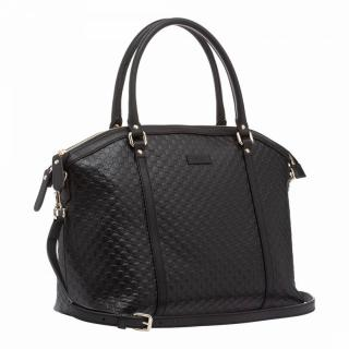 Gucci Microguccissima Black Leather Shoulder Bag