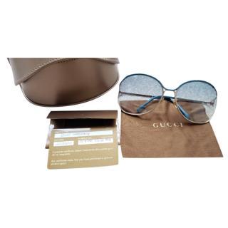 Gucci Blue & Gold Gradient Oversize Sunglasses