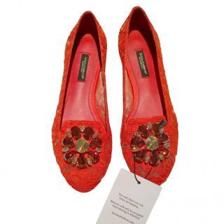 Dolce & Gabbana Lace Crystal Embellished Ballerina Flats