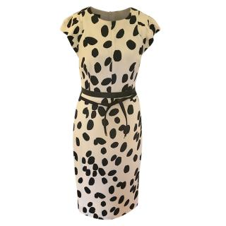 Escada black and white spotted fitted dress
