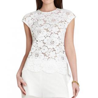 BCBG Max Azria White Lace-Front Shanine Top