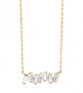 Suzanne Kalan 14K Yellow Gold White Topaz Baguette Bar Necklace