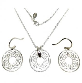 Cred Silver Cutwork Medallion Necklace & Earrings