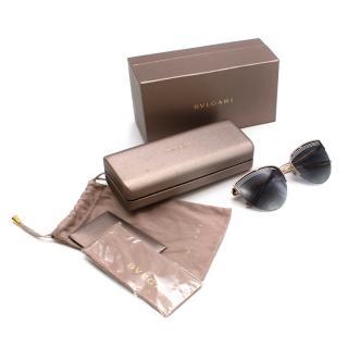Bvlgari B.zero1 Black & Gold Round Cat Eye Sunglasses