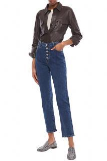 Joseph Blue Denim High-Rise Crop Straight-Leg Jeans