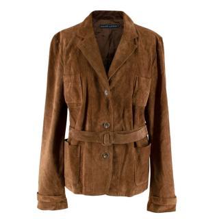 Ralph Lauren Blue Label Brown Suede Belted Jacket