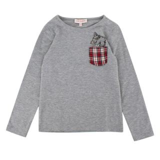 Lili Gaufrette Grey Long Sleeve Kitten Pocket T-Shirt