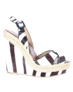Christian Louboutin Zebra Print Calf Hair Wedge Sandals