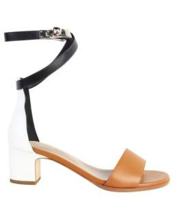 Hermes Tri-Colour Calfskin & Nappa Leather Manege Sandals