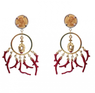 Dolce & Gabbana Gold Plated Coin, Crown & Coral Drop Earrings