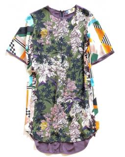 MSGM Multi-Print Silk Twill Shift Dress
