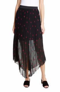 Maje Pleated Jengo Embroidered Skirt