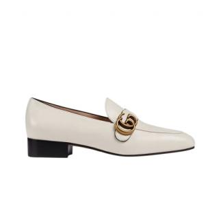 Gucci white leather loafers with Double G