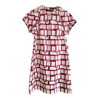 Junya Watanabe for Comme Des Garcons Ivory/Burgundy Abstract Dress