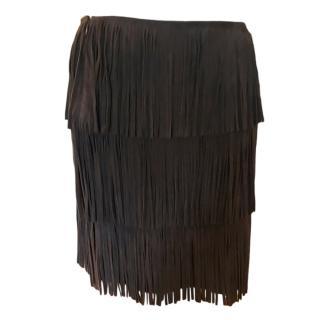 Michael Kors Brown Suede Fringed Skirt