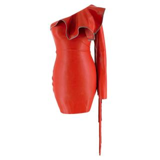 William Wilde Red Latex One-Shoulder Fringe Dress