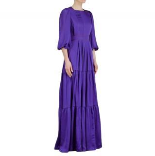 Roksanda Purple Tiered Square Neck Maxi Dress
