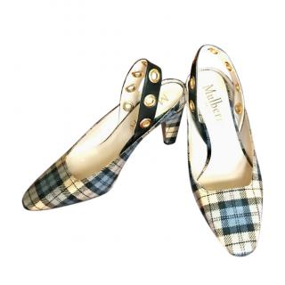 Mulberry Christy Eyelet Plaid Slingback Sandals