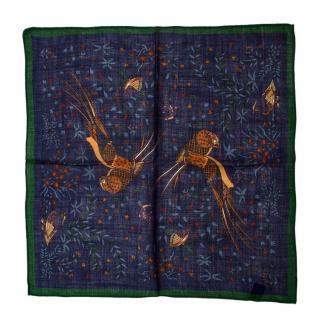 Drakes Multi-coloured Bird Pattern Handkerchief